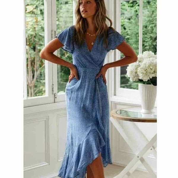 The Best Women Ladies Summer Boho Short Sleeve Long Floral Dress Fashion Ruffle V-Neck Party Beach Dresses Sundress Online - Hplify