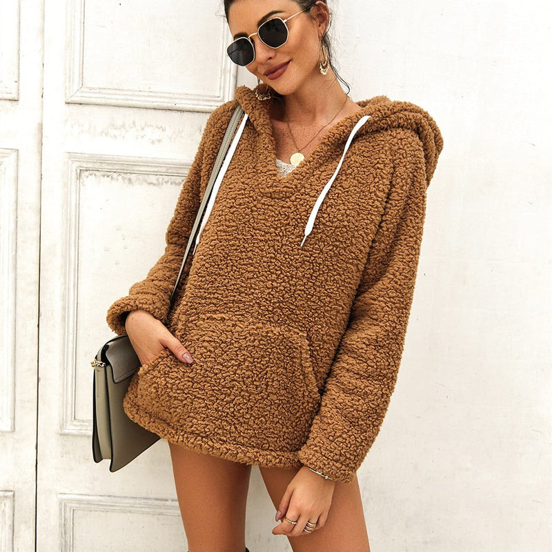 The Best Women Ladies Warm Hooded Sweatshirt Elegant Autumn Winter Tops Long Sleeve Plain Fashion Solid Hoodies Outwear Streetwear Online - Hplify