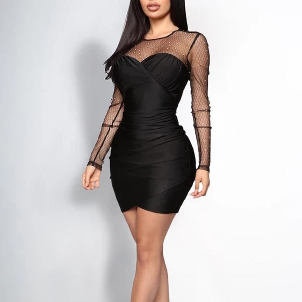 The Best Women Lady Mesh Sheer Long Sleeve Bodycon Dress Rhinestone Evening Party Mini Dress Online - Source Silk