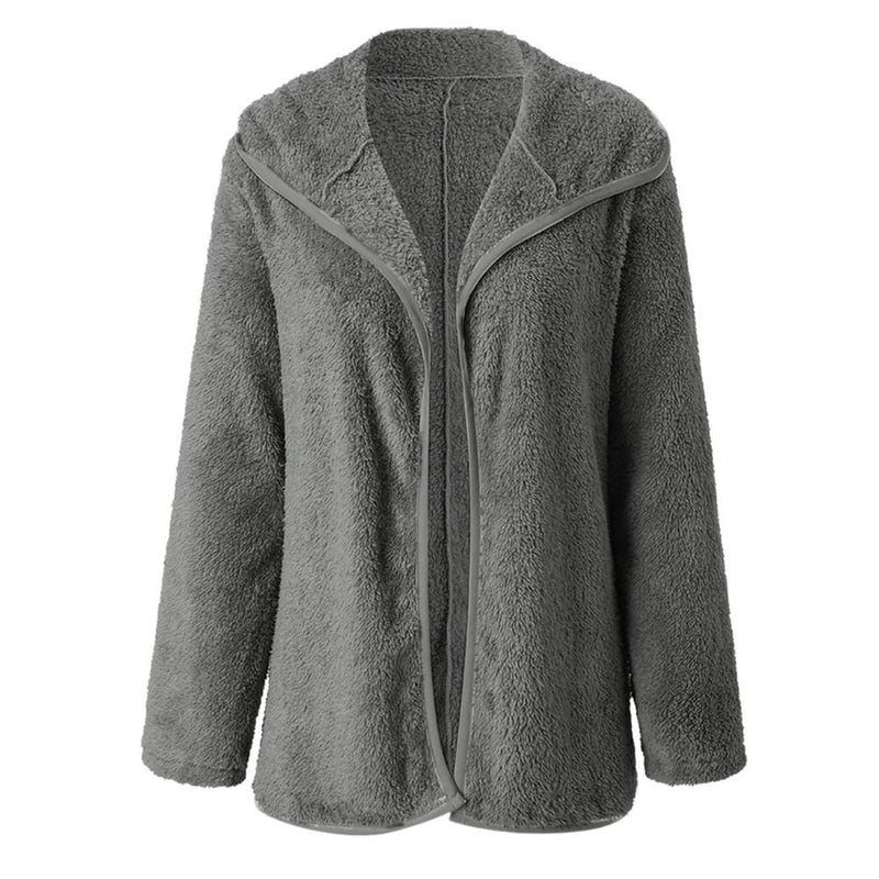 The Best Women Lapel Loose Solid Color Jackets Ladies Casual Warm Cashmere Wool Coat Fluffy Woolen Teddy Bear Cardigan Tops Online - Hplify