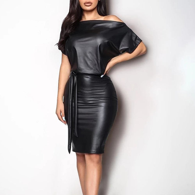 The Best Women Leather Bodycon Dress Sexy Ladies Off Shoulder Short Sleeve Club Evening Party Mini Dress Online - Hplify