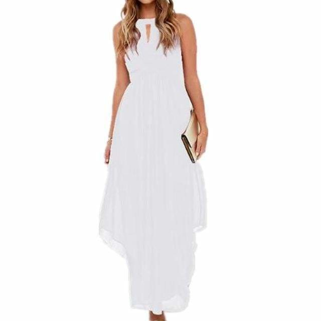 Women Long Chiffon Dress New Summer Beach Dresses - White / S - Womens Dresses