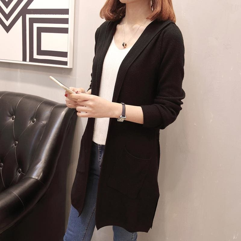 The Best Women Long Hooded Cardigan Autumn Pockets Long Women Sweater Cardigan Online - Source Silk