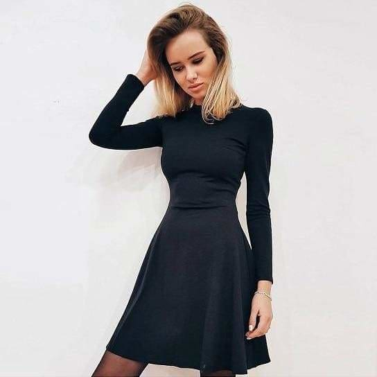 The Best Women Long Sleeve Bodycon O-neck Casual Dress Online - Source Silk