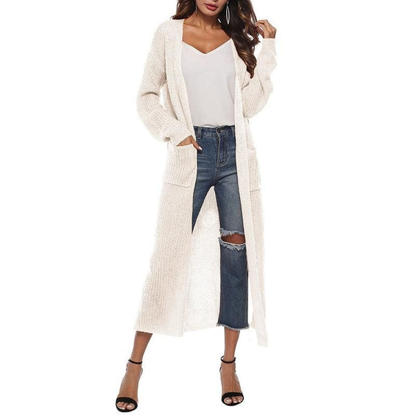 The Best Women Long Sleeve Cardigan Knit Tops Knitwear Autumn Coat Outwear Online - Source Silk