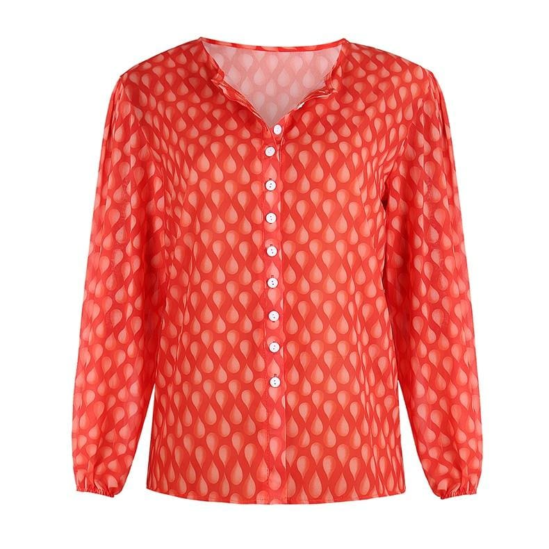 Women Long Sleeve Casual Chiffon Blouse Shirt Ladies Loose Button Holiday Tops Shirt Streetwear - Hplify