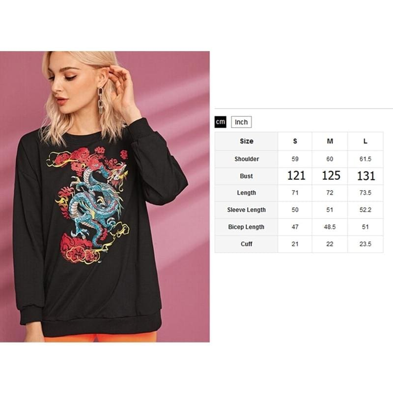 The Best Women Long Sleeve Crew Neck Dragon Print Sweater Sweatshirt Pullover Casual Tops Blouse Shirt Online - Source Silk
