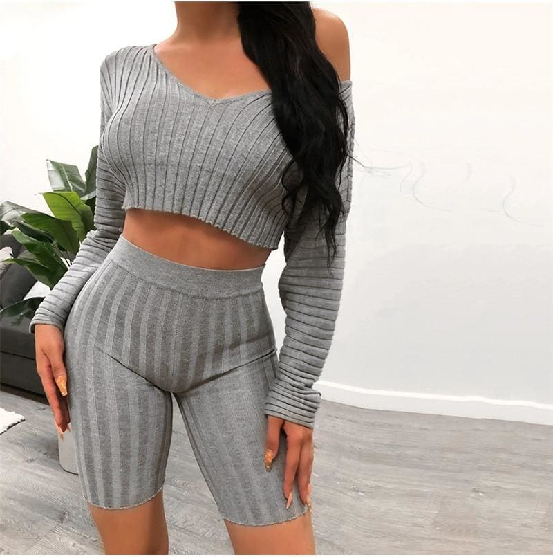 The Best Women Long Sleeve Crop Top and Short Pant Suit Elegant Casual Plain Tight Stretch home wear 2 Piece Set Online - Hplify