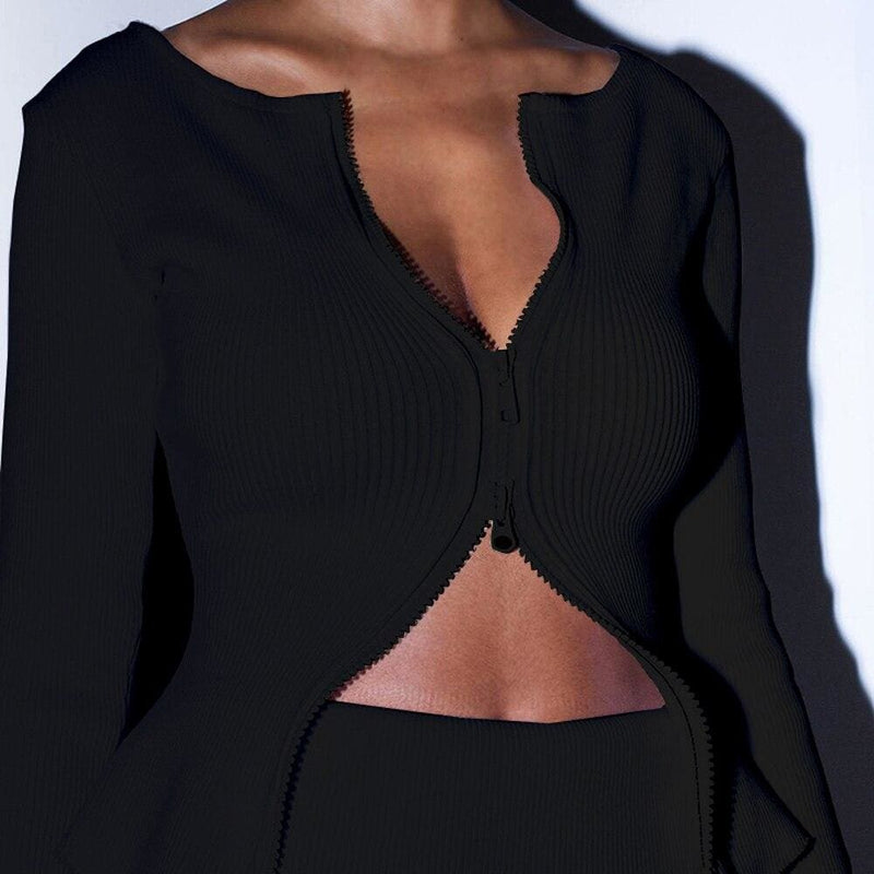 The Best Women Long Sleeve Double zipper Crop Knit Stretch Cardigan Casual Lady Slim Fit Sweater Jacket Coat Outwear Tops Online - Hplify
