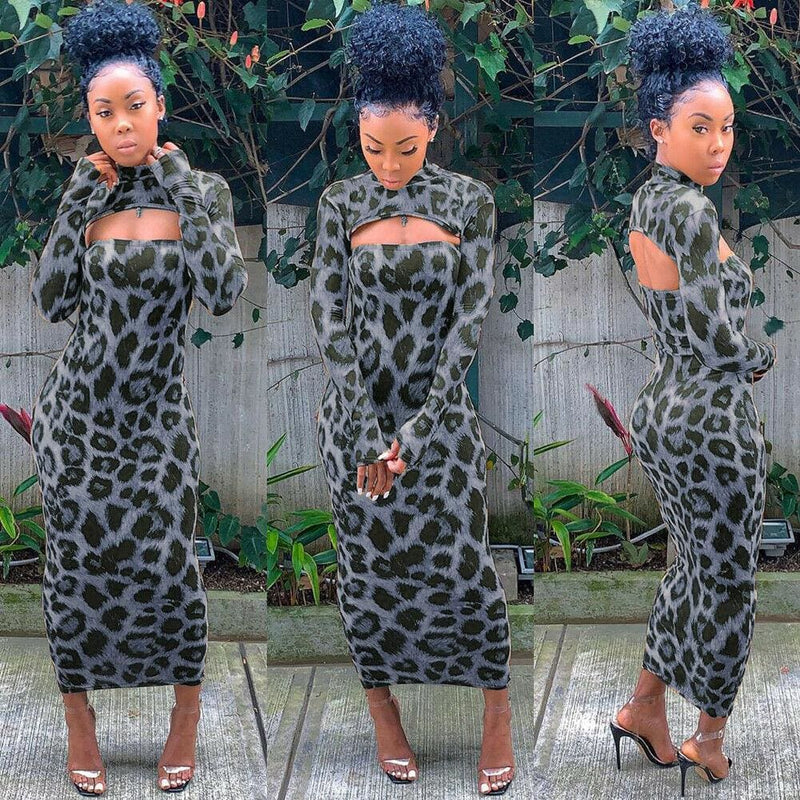 The Best Women Long Sleeve Leopard Bodycon Dress Autumn Ladies Evening Party Clubwear Slim Long Sexy Dress Online - Hplify