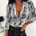 Women Long Sleeve Leopard Skin Prinetd Bodysuit Autumn Casual Jumpsuit Bodysuit Slim V Neck Leotard Tops Fashion Slim Bodysuit - Womens