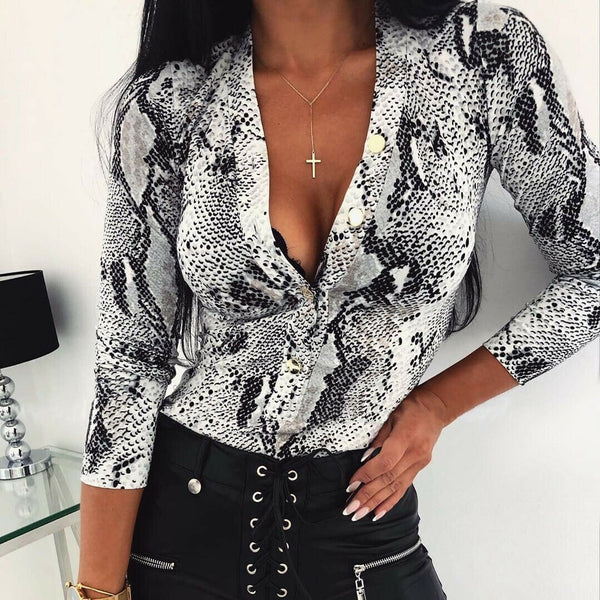 The Best Women Long Sleeve Leopard Skin Prinetd Bodysuit Autumn Casual Jumpsuit Bodysuit Slim V Neck Leotard Tops Fashion Slim Bodysuit Online - Hplify