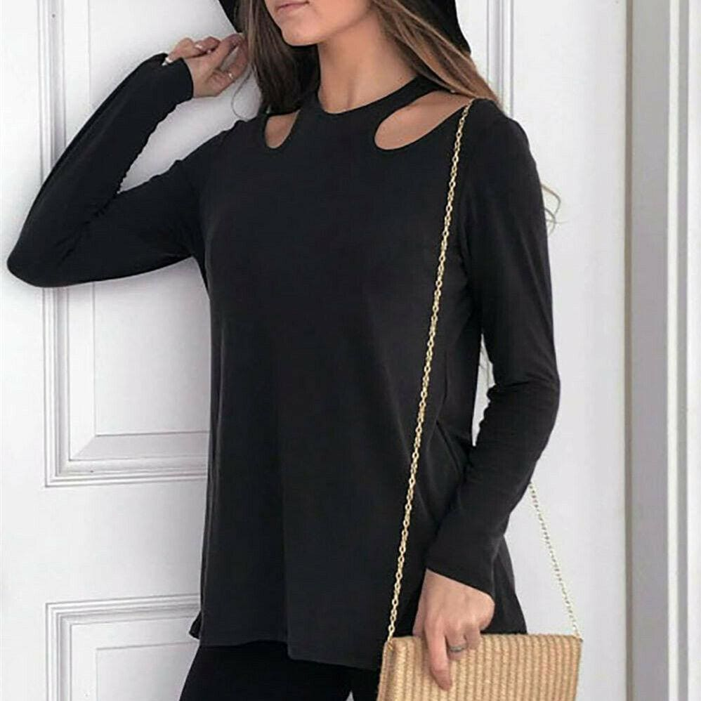 Buy Cheap Women Long Sleeve Shirt Tops Ladies Crew Neck Solid Casual Hollow Out Blouse Online - Hplify