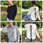 Buy Cheap Women Long-sleeve Sweatshirt Round Neck Lace Up Casual Pullover Online - Hplify