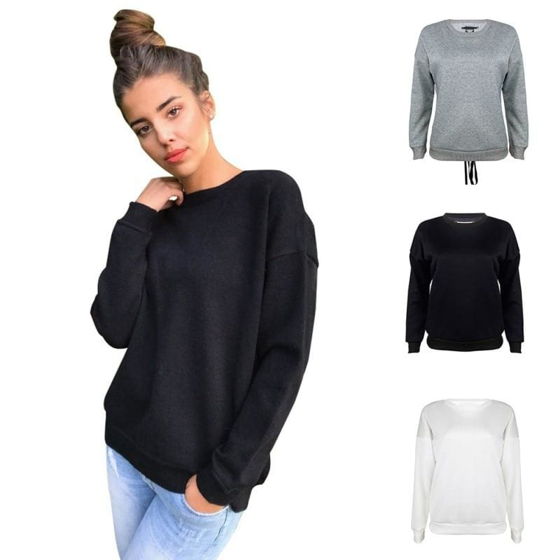 The Best Women Long-sleeve Sweatshirt Round Neck Lace Up Casual Pullover Online - Source Silk