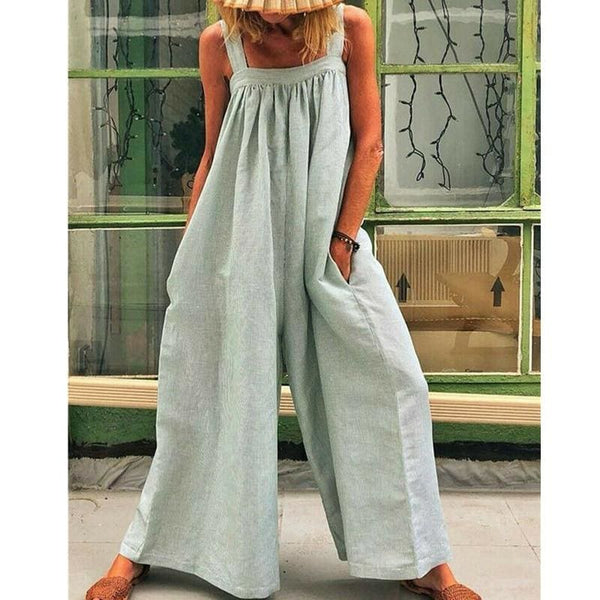 The Best Women Loose Baggy Jumpsuit Dungarees Playsuit Romper Ladies Casual Wide Leg Trousers Summer Holiday Clothing Online - Hplify