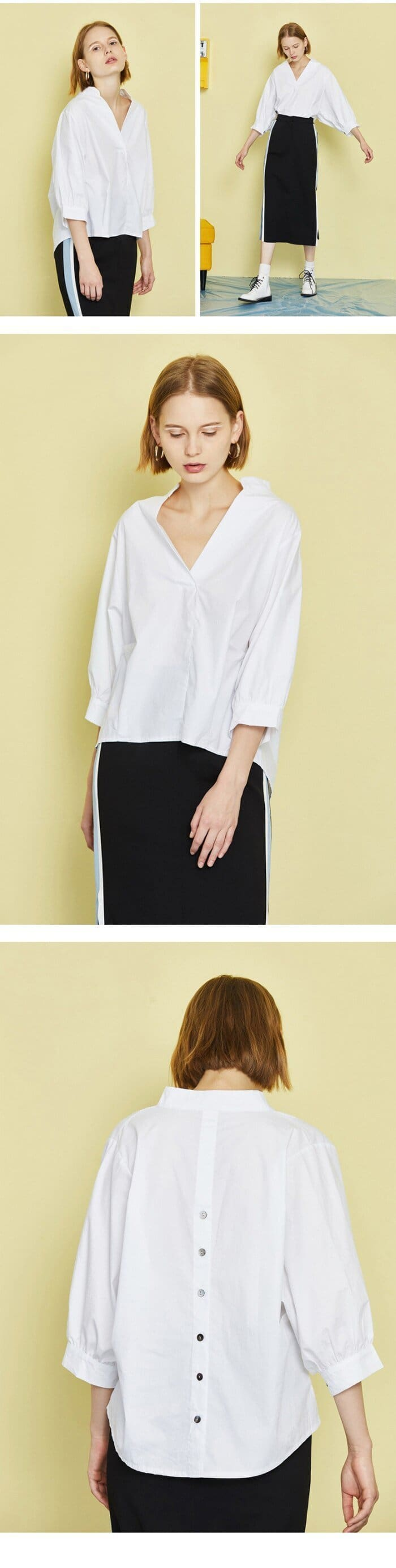 The Best Women Loose Blouse Cotton Back Button Solid V-Neck Casual Shirt Online - Source Silk