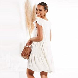 Buy Cheap Women Loose Summer Dress Short Sleeve V Neck Mini Casual vintage dress Online - Hplify