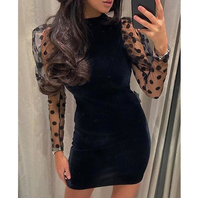The Best Women Mesh Sheer Long Sleeve Dress Bodycon Backless Party Club Mini Dress Polka Dot Puff Sleeve Slim Dresses Online - Source Silk