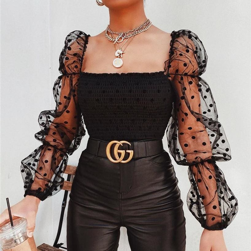 Buy Cheap Women Mesh Sheer T Shirt See-through Long Sleeve Top Shirt Online - Hplify