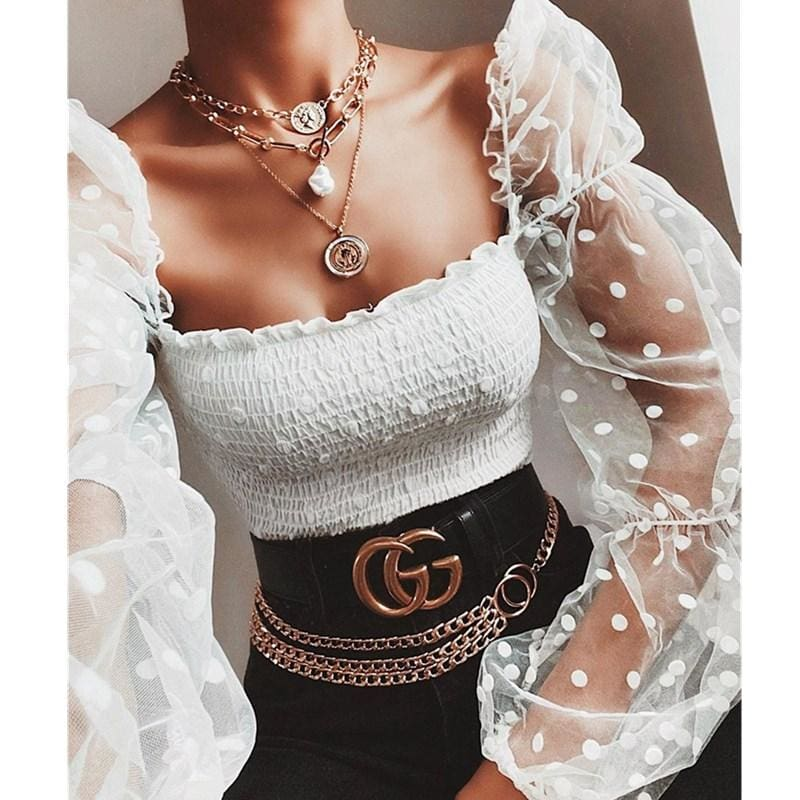 The Best Women Mesh Sheer T Shirt See-through Long Sleeve Top Shirt Online - Source Silk
