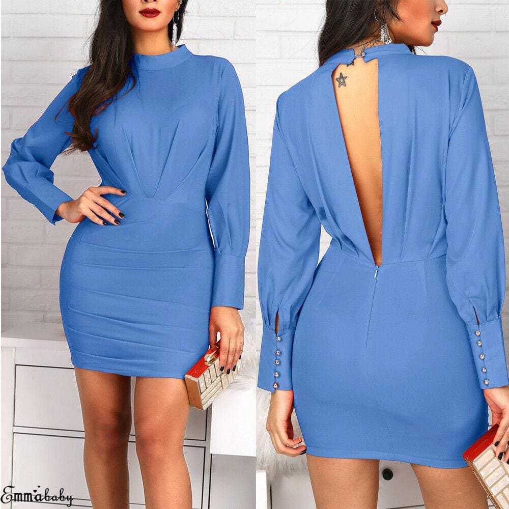 The Best Women Open Back Bodycon Mini Dress Casual Ruched Long Sleeve Bodycon Slim Evening Party Dress Online - Source Silk