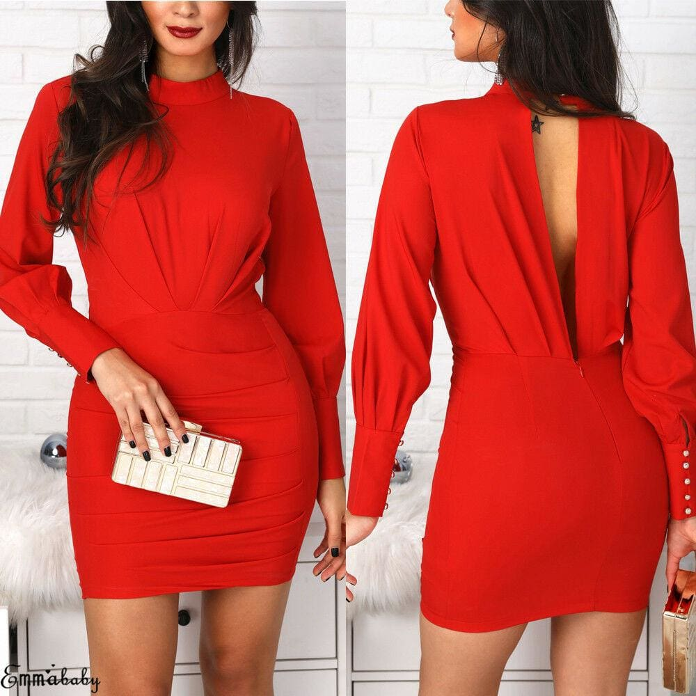 Women Open Back Bodycon Mini Dress Casual Ruched Long Sleeve Bodycon Slim Evening Party Dress - Hplify