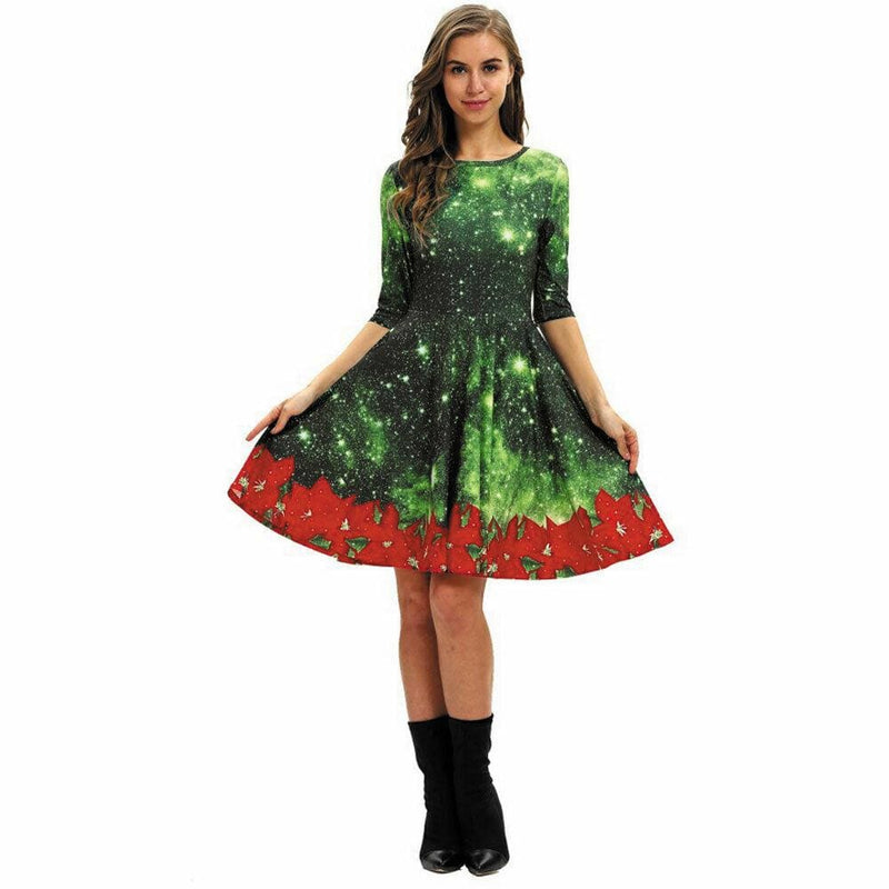 The Best Women Party Dress Ladies Casual Half Sleeve Pleated Xmas Print Cat Snowman Swing Dress Online - Hplify
