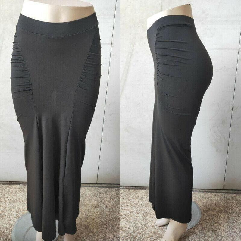 The Best Women Plain Pleated High Waist Long Maxi Skirt Sexy Stretch Solid Bodycon Mermaid Party Skirt Online - Source Silk