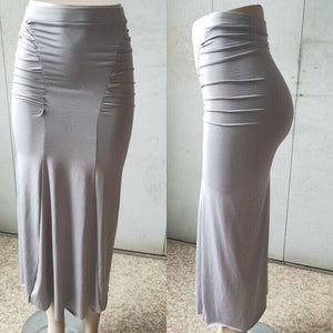Women Plain Pleated High Waist Long Maxi Skirt Sexy Stretch Solid Bodycon Mermaid Party Skirt - Gray / S - Bottoms