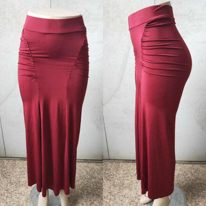 Women Plain Pleated High Waist Long Maxi Skirt Sexy Stretch Solid Bodycon Mermaid Party Skirt - Red / S - Bottoms