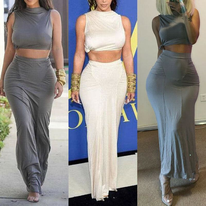 The Best Women Plain Pleated High Waist Long Maxi Skirt Sexy Stretch Solid Bodycon Mermaid Party Skirt Online - Hplify