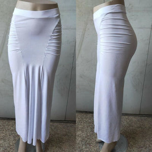 Women Plain Pleated High Waist Long Maxi Skirt Sexy Stretch Solid Bodycon Mermaid Party Skirt - White / S - Bottoms