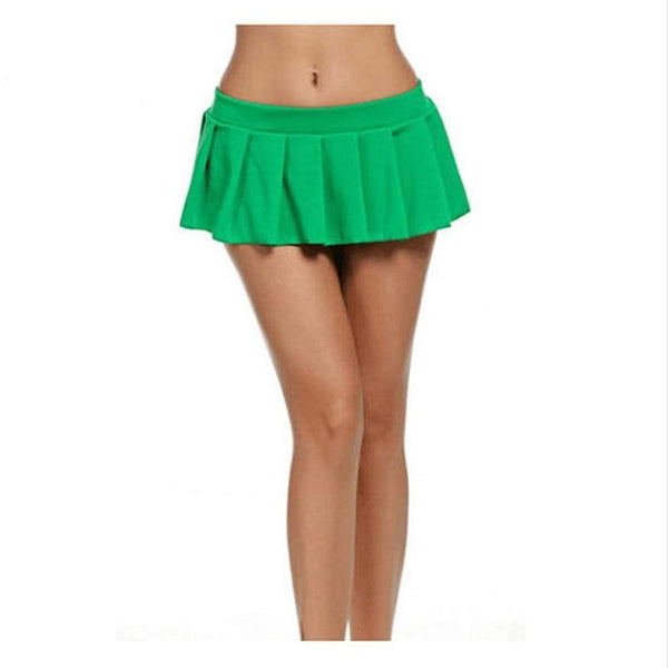 The Best Women Plain Skater Flare Pleated Mini Skirt Summer Schoolgirl Micro High Waist Short Skirts Cosplay Club Costume Online - Hplify