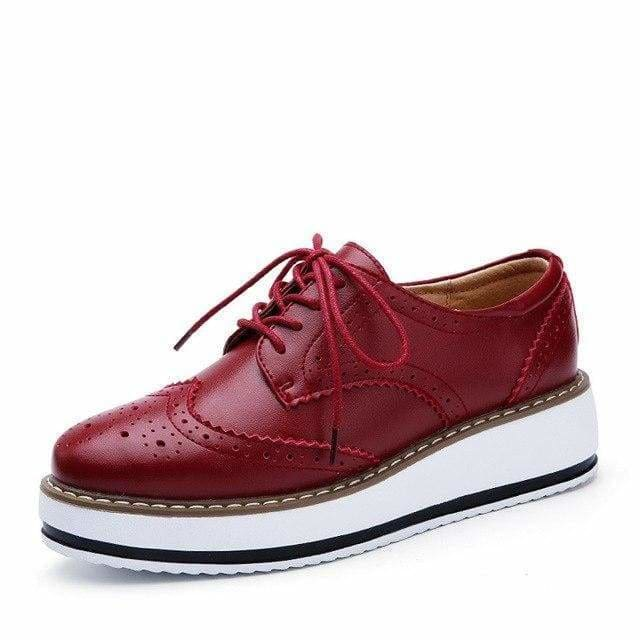 The Best Women Platform Oxfords Brogue Flats Shoes Leather Lace Up Pointed Toe Online - Source Silk
