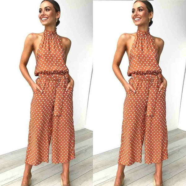 The Best Women Polka Dot Sleeveless Halter Jumpsuit Playsuit Fashion New Ladies Party Summer Loose Wide Leg Romper Trousers Online - Hplify