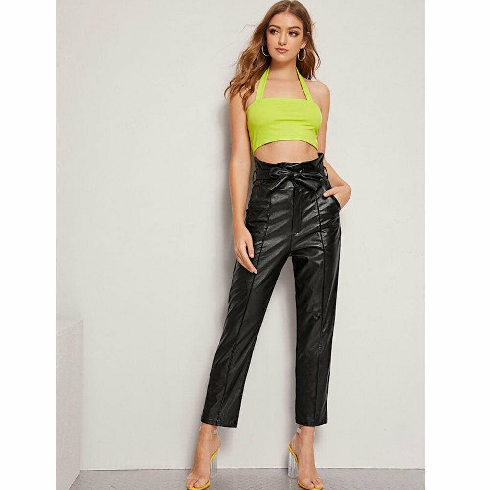 The Best Women PU Leather Pants High Waist Push Up Casual Workout Stretch Skinny Leggings Trousers Bottoms Online - Source Silk