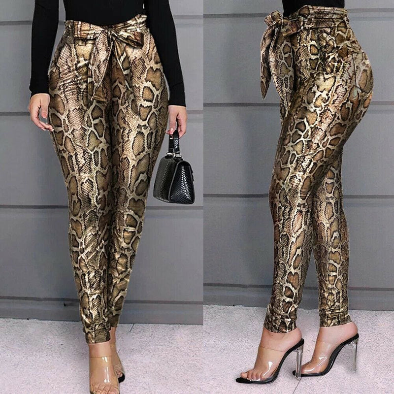 The Best Women PU Leather Pants Women Trousers Push Up High Waist Skinny Pants Pencil Spring Snake Skin Sexy Pants Online - Hplify
