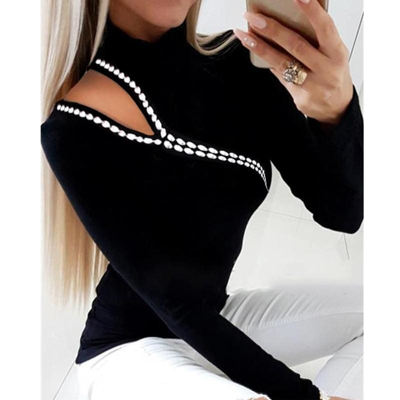 The Best Women Pullover Tops Tee Long Sleeve Sweater Knitted Cold Shoulder Jumper Online - Source Silk