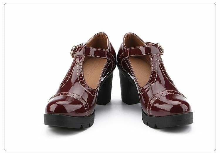 The Best Women Pumps Platform High Heels Patent Leather High-heeled Round Toe Online - Source Silk