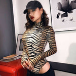 Women Romper Bodysuit Tiger Leopard Print Tops Long Sleeve Ladies Turtleneck Bodycon Stretch Jumpsuit Top Blouse Catsuit - Womens Clothing