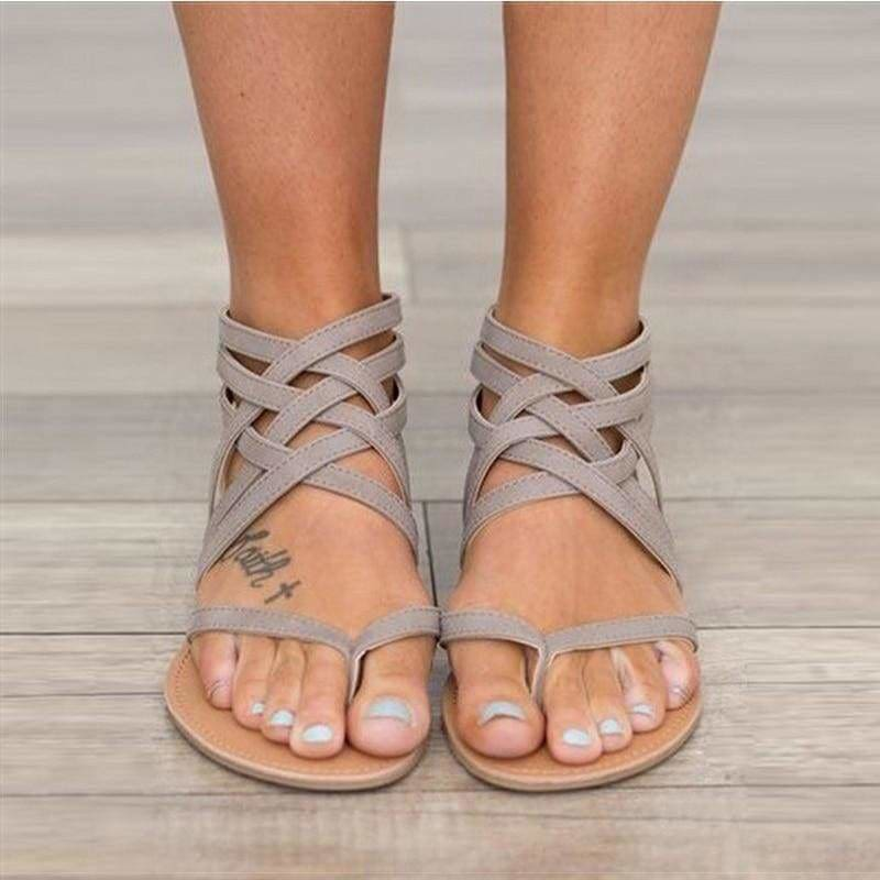 Women Sandals Female Flat Sandals Rome Style Cross Tied Sandals - gray / 4.5 - Womens shoes