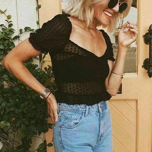 Buy Cheap Women See Through Blouse Summer Sexy Mesh Loose Short Sleeve Polka Dots V-Neck Beach Casual Short Shirt Online - Hplify