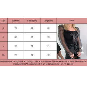 Women See Through Mesh Long Puff Sleeve Crop Tops Square Neck Blouse Tee Shirt - Tops