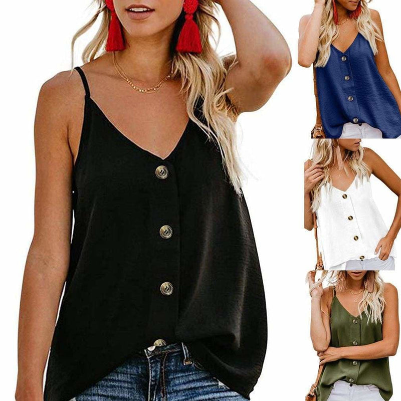 The Best Women Sexy Button V Neck Sleeveless Cami Tank Top Online - Hplify