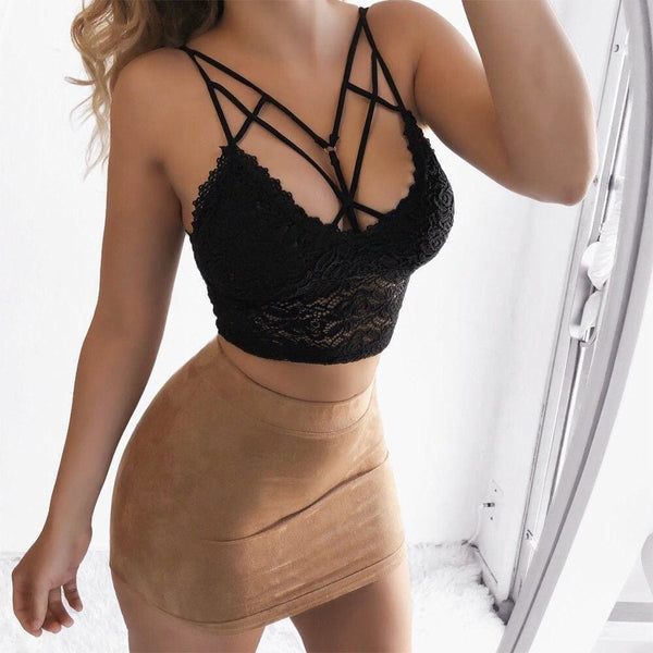 The Best Women Sexy Casual Tank Top Vest Blouse Sleeveless Summer Bandage Lace Strap Bralette Halter Bustier Crop Top Shirt Cami Top Online - Hplify