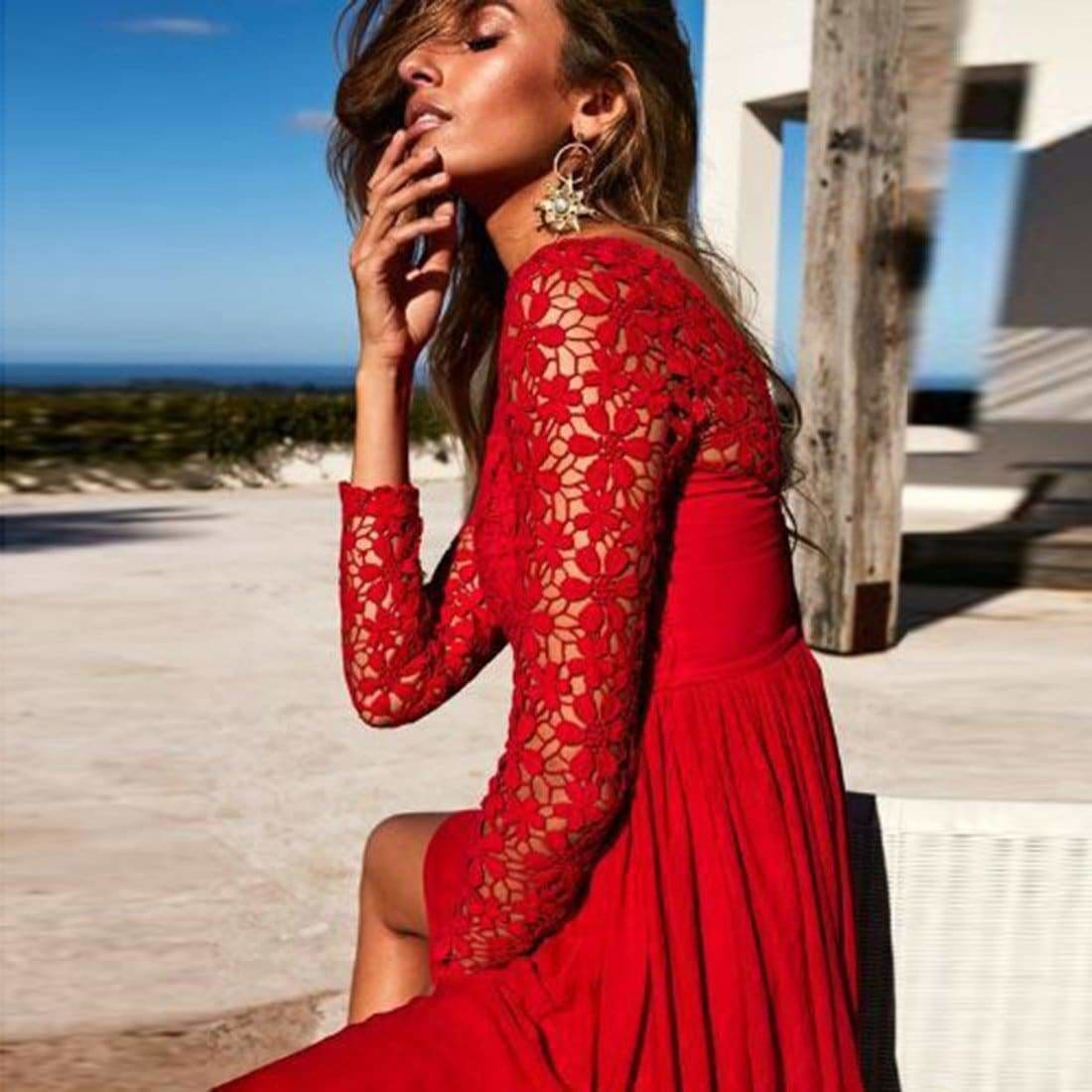 The Best Women Sexy Hollow Out Evening Party Dresses Long Sleeve Backless Dress Online - Source Silk