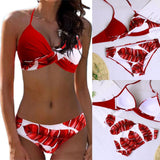 Buy Cheap Women Sexy Leaf Polka Dot Bikini Padded Push up Swimwear Hawaii Swimsuit Beachwear Bathing Suit Online - Hplify