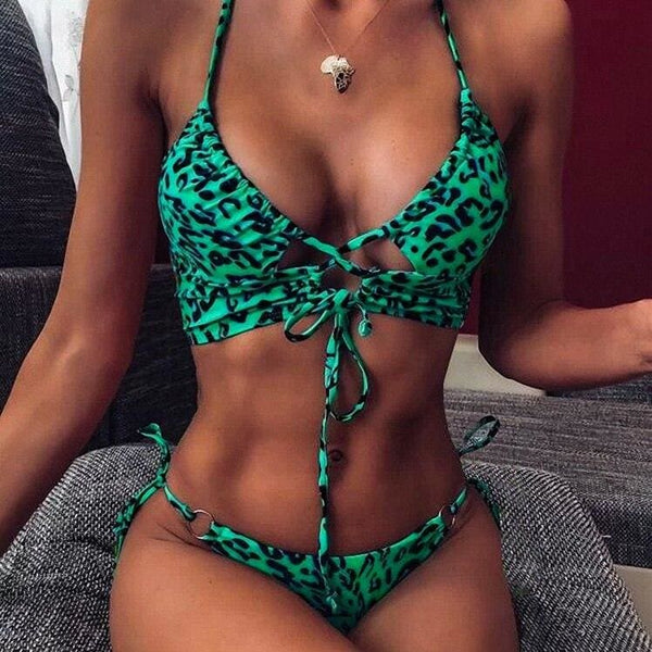 The Best Women Sexy Leopard Padded Halter Bandage Push Up Bra Throng Swimming Suit Swimsuit Swimwear Bikini Set Biquini Online - Hplify
