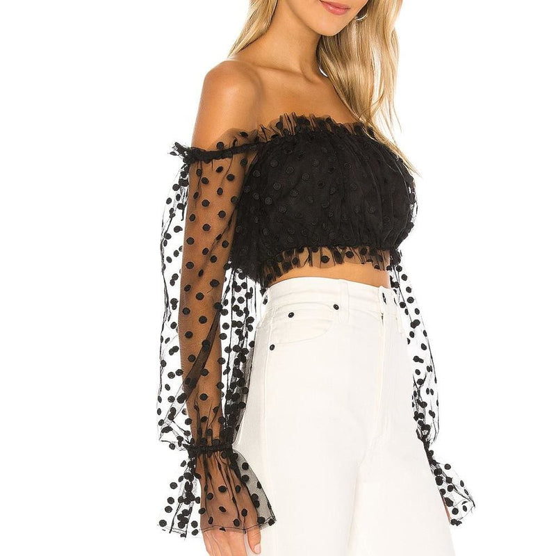 The Best Women Sexy Sheer See-through Long Sleeve Blouse Top Polka Dot Off Shoulder Tops Clubwear Online - Hplify